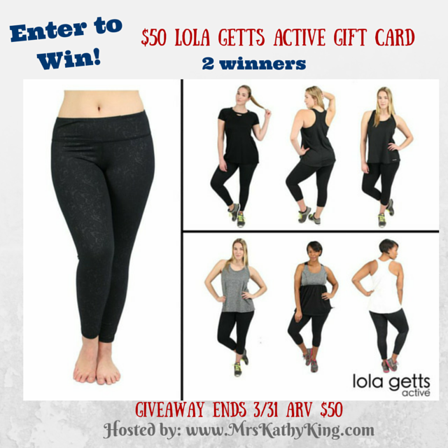 Enter the $50 Lola Getts Active Gift Card Giveaway. Ends 3/31.