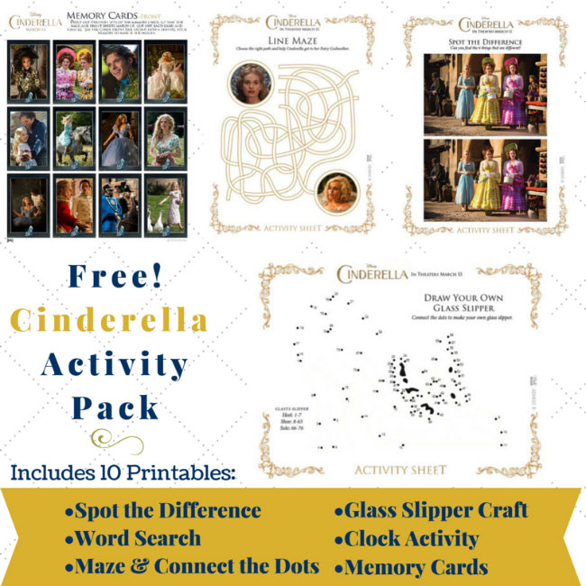 The Free Cinderella Printables Pack includes the following 10 pages, Memory Cards, Draw Your Own Glass Slipper, Cinderella Spot the Diffence games, Draw Your Own Glass Slipper, Line Maze, and word search. Click the picture to get the free download