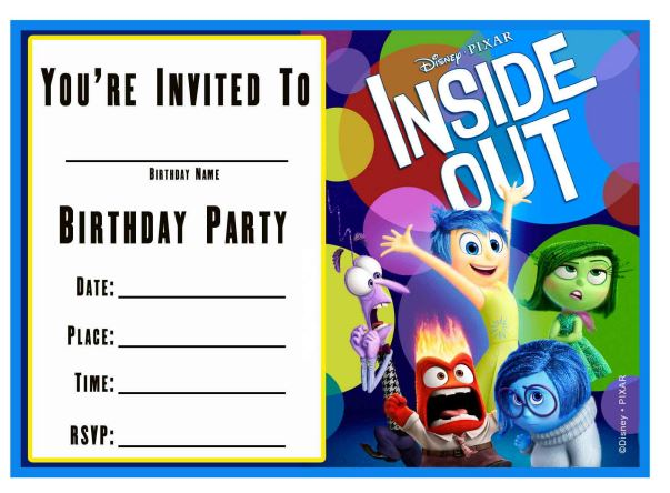 Free Printable Inside Out Birthday Invitation templete