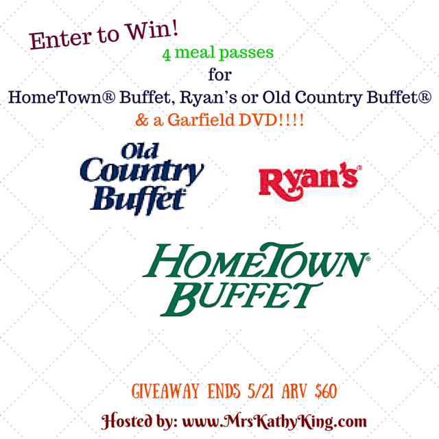 Enter to win Old Country Buffet and Garfield DVD Giveaway. Ends 5/19