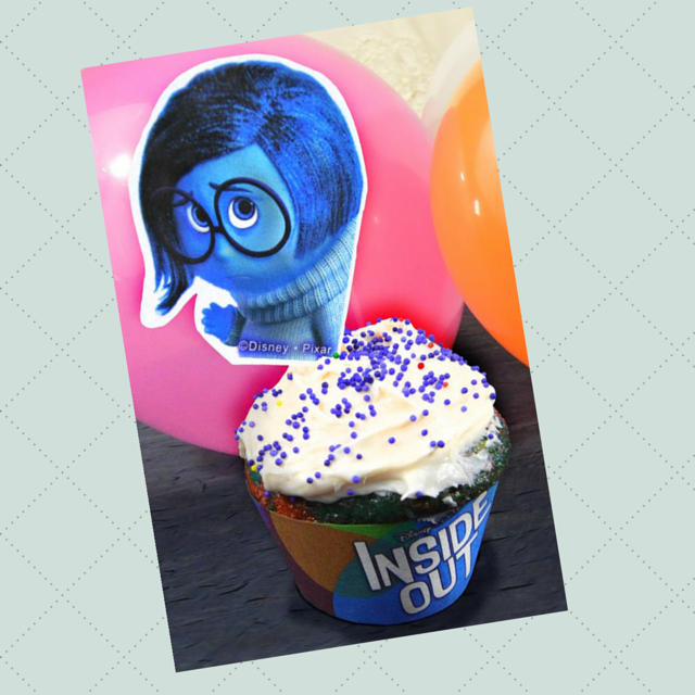 Inside Out Sadness Cupcake Topper Cup and Cake Decorations