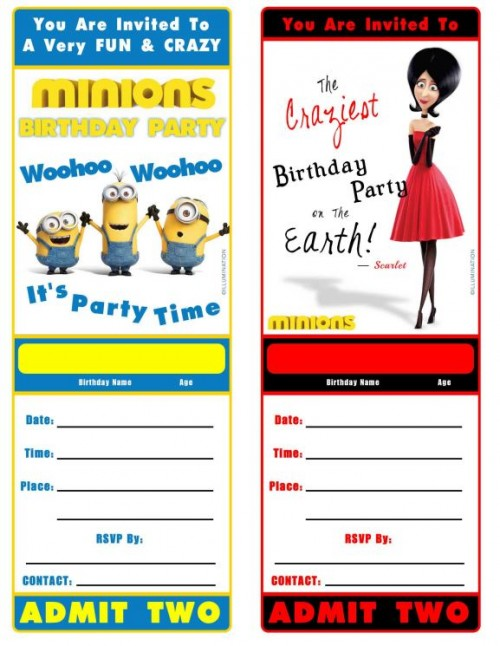 Minions movie birthday invitations