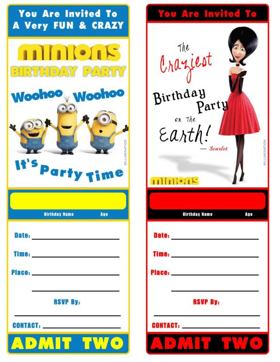 Free Minion Movie Printable Birthday Invitation Minions
