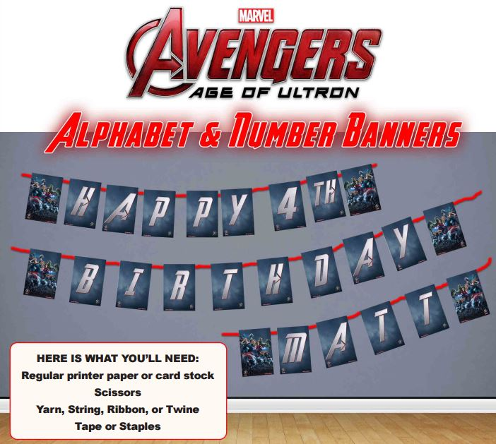 Avengers Age of Ultron Alphabet & Numbers Banner