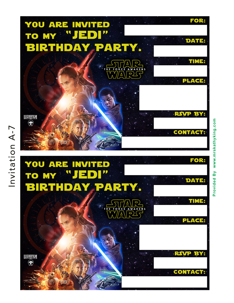free star wars the force awakens printable party decoration pack, Party invitations