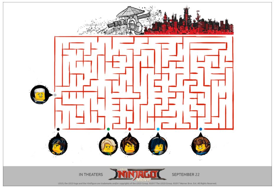 lego ninjago movie printable activity page maze