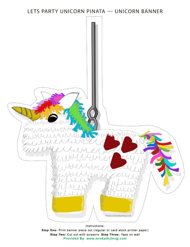 Unicorn Piñata Printable sign